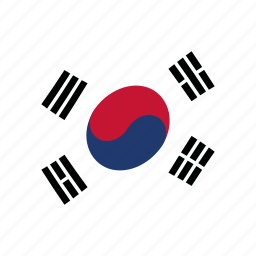 corea, korea, korean, kr, south, waving flag, white icon