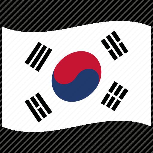 corea, korea, korean, kr, south, waving flag, white icon