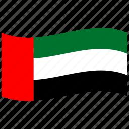 arab, arabian, emirates, muslim, red, united, waving flag icon