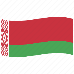 belarus, belarusian flag, by, green, red, republic, waving flag icon