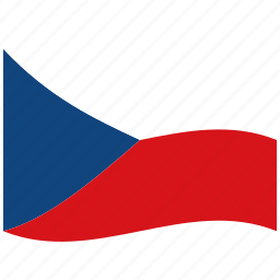 chech, cz, red, republic, waving flag, white icon