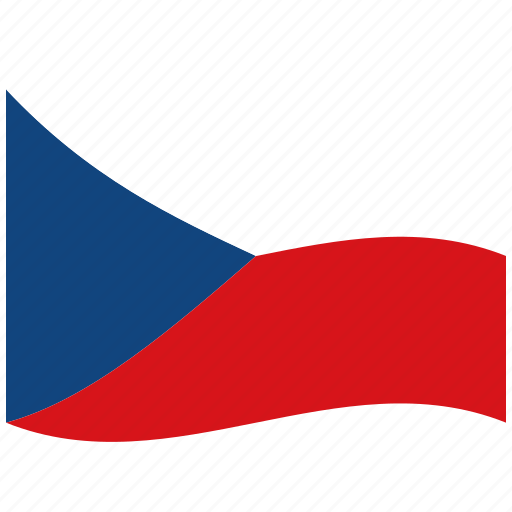 chech, cz, red, republic, waving flag, white icon