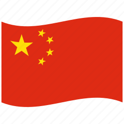 china, chinese, chinese flag, red, waving flag icon