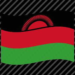 flag, green, malawi, mw, red, republic, waving flag icon
