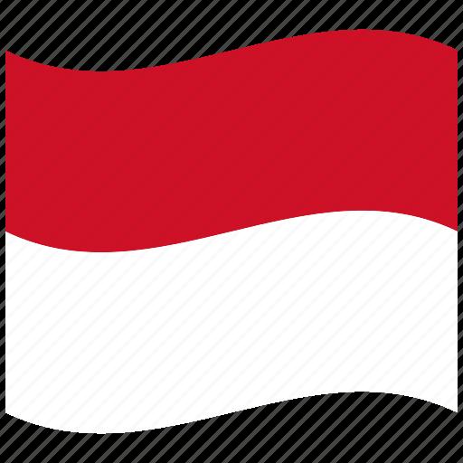 flag, mc, monaco, red, waving flag, white icon
