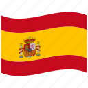es, hispanic, red, spain, spanish flag, waving flag icon
