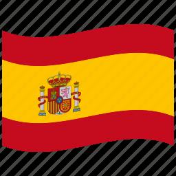 es, hispanic, red, spain, spanish flag, waving flag icon