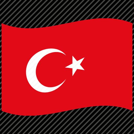 red, turkey, turkish, waving flag, white icon