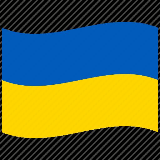 blue yellow, kiev, ua, ukraine, ukrainian, ukrainian flag, waving flag icon