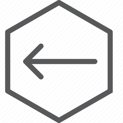 arrow, direction, hexagon, left, point, sign, way finding icon