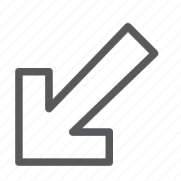 arrow, bottom, direction, down, left, point, sign, way finding icon
