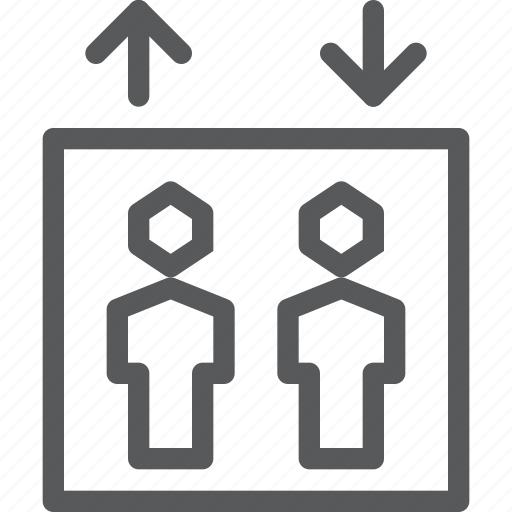 arrow, down, elevator, human, lift, person, sign, way finding icon