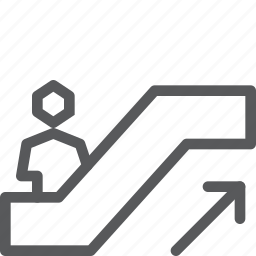 arrow, ascend, escalator, ramp, right, sign, up, way finding icon