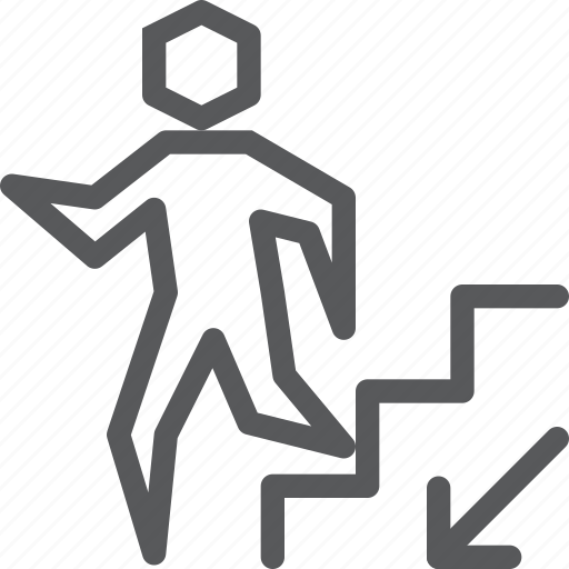 arrow, descend, down, left, ramp, sign, staircase, way finding icon