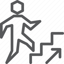 arrow, ascend, ramp, right, sign, staircase, up, way finding icon