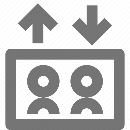 arrows, avatar, down, elevator, human, people, up icon