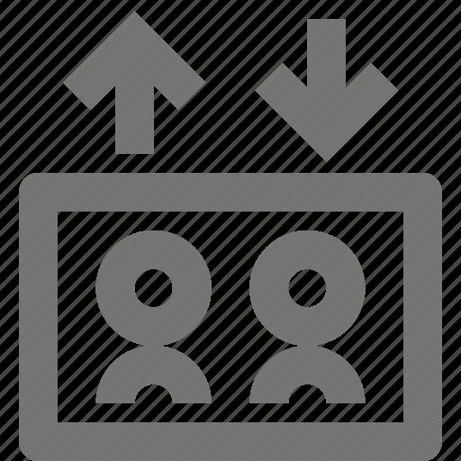 arrows, elevator, people icon