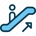 arrow, escalator, up, upstairs, wayfind icon