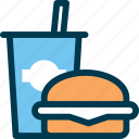 burger, drink, eat, fastfood, food, wayfind icon