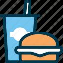 burger, drink, eat, fastfood, food, wayfind