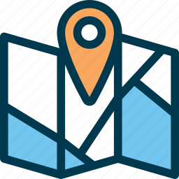 direction, location, map, pin, road, wayfind icon