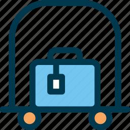 bag, baggage, cart, hotel, trolley, wayfind icon
