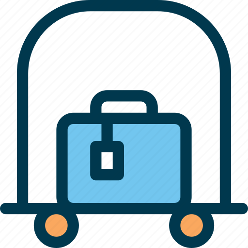 bag, baggage, cart, hotel, trolley, wayfind icon