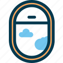 air, airplane, cloud, fly, sky, window icon
