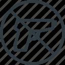 find, guns, no, sign, wayfinding icon