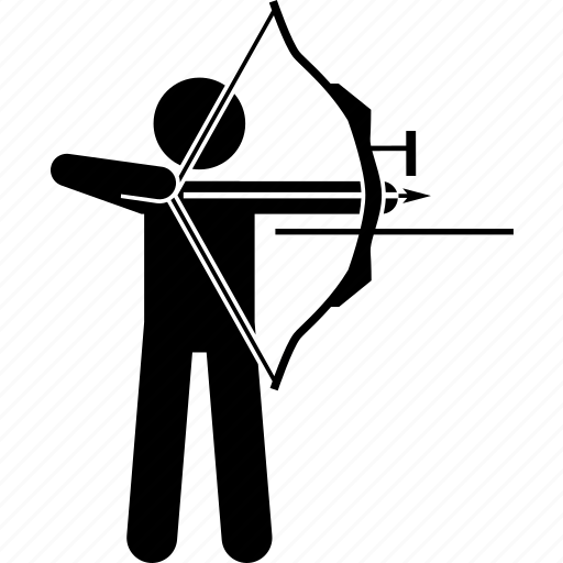 arrow, bow, man, shoot icon
