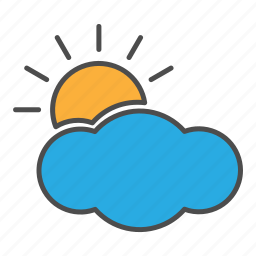 cloudy, day, hovytech, partly, sun, sunny, weather icon