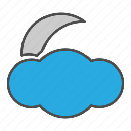cloud, cloudy, hovytech, moon, night, partly, weather icon