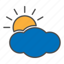 cloudy, day, hovytech, partly, storm, sun, weather icon