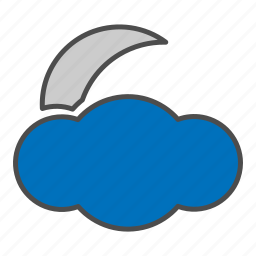cloudy, hovytech, moon, night, partly, storm, weather icon
