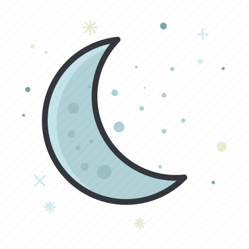 crescent, forecast, moon, weather icon