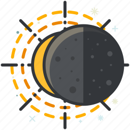 eclipse, forecast, moon, sun, weather icon