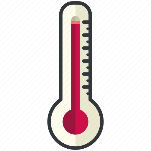 forecast, high, temperature, thermometer, weather icon