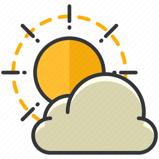 cloud, cloudy, fprecast, partly, sun, weather icon