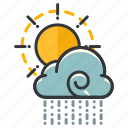cloud, forecast, partly, rain, sun, weather icon