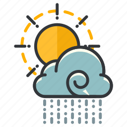 cloud, forecast, partly, rain, sun, weather icon