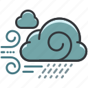 cloud, clouds, forecast, rain, weather, windy icon