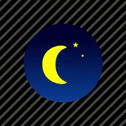 moon, night, sky, stars, weather icon