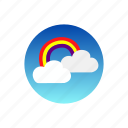 clouds, day, rainbow, rays, sky, sun, weather icon