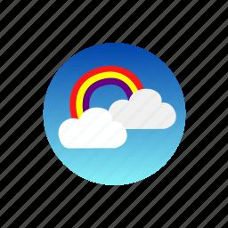clouds, day, rainbow, rays, sky, sun, weather icon