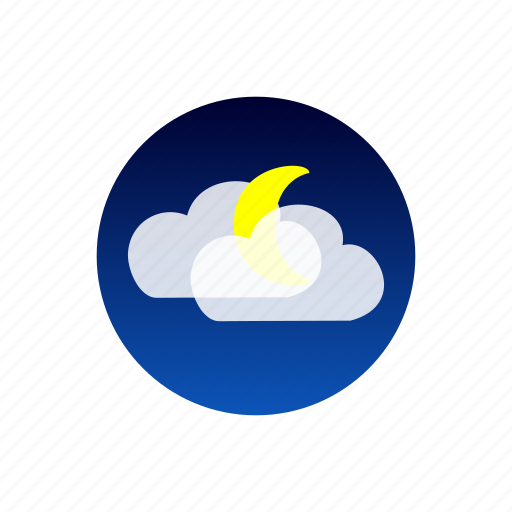 clouds, moon, night, sky, weather icon