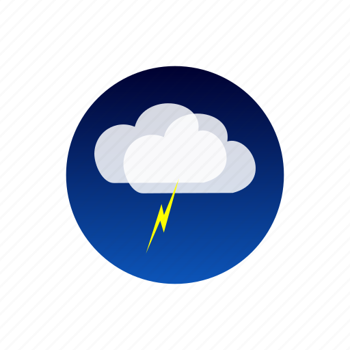 clouds, lightning, night, sky, storm, temporal, weather icon