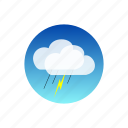 clouds, day, lightning, rain, sky, temporal, weather icon