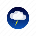 clouds, lightning, night, rain, sky, temporal, weather icon