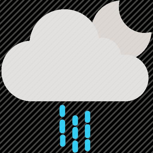 cloud, cloudy, moon, night, rain, raining, weather icon