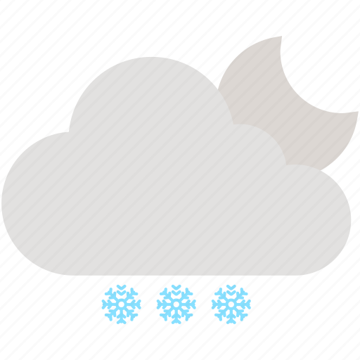 cloud, cloudy, moon, night, snow, snowflake, weather icon